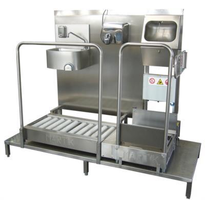 stazione di igiene in acciaio inox modulare sanificazione e igienizzazione mani e suole