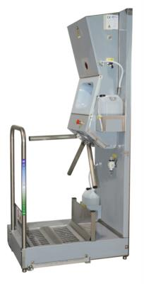 stazione per la pulizia e igienizzazione suole e mani con tornello tripode per controllo accessi